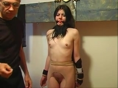 Tiny boobs chick receives her nipps pinched and teased by her corporalist