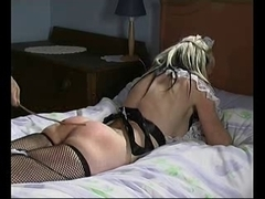 Naughty blonde slut enjoys some booty caning