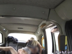 Long legged blonde bangs huge cock in fake taxi