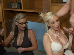 Diamond Foxxx and Phoenix Marie are pounded in office