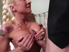 Jordan Ash gets sucked by heavy chested Leya Falcon