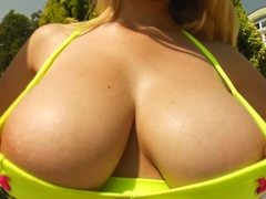 Prime Cups Girl with massive tits dildo fucks her pussy