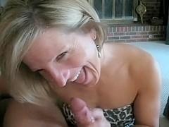 Mature bimbo got my cum on her face