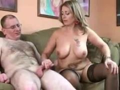 Mature couple make a handjob video.