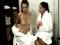 Brunettes Lesbian Babes Beneath The Shower