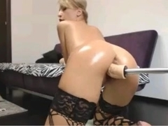 Sexy Blond Using Sex Machine