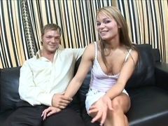 Lewd bitch group-screwed on the couch