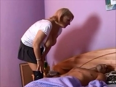 Blonde MILF wakes up boy for some hot mature fucking