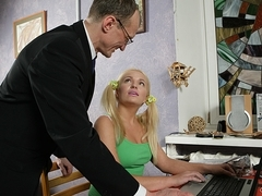 TrickyOldTeacher - Blonde student tricked by older teacher to suck his cock and fuck him