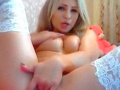 Delightful blonde Angelssssex fucks herself