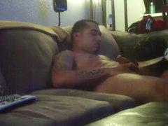Latino gets blindfolded blowjob on sofa
