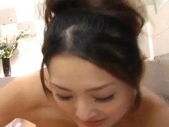Risa Murakami cleans cock and licks man soles before fu