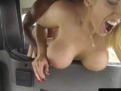 Bigboob milf cabbie fucked by black client