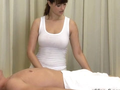 Brunette with big tits does a professional blowjob