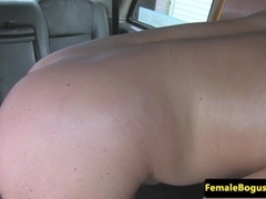 Lesbian female cabbie gets pussy eaten out