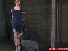 Whipped and restrained sub ruled over by dom