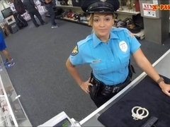 Police officer with huge boobs got fucked in the backroom
