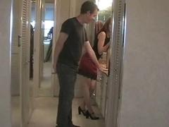 Wife husband ballbusting with high heel cuckold