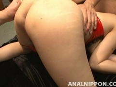 Aiko Nagai Pretty Asian waitress gets an anal fucking