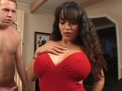Latin Chick floozy with giant fake love muffins is screwed from behind against chair in hotel