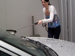 Washing car and fucking in it