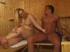 Chubby in the sauna
