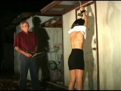 Big booty brunette gets whipped during a BDSM session