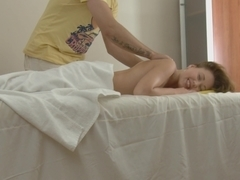 Hawt sweetheart hardly screwed on massage table with facial ejaculation