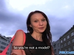 PublicAgent: Skinny brunette is fucked next to a river