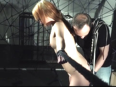 Teen girl crying in restraint