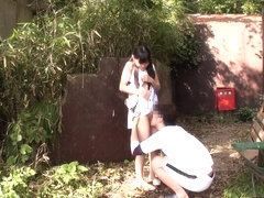 Tiny japanese babe fingerfucked outdoors