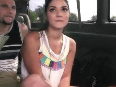 Teen cutie strips and rubs cock in a van