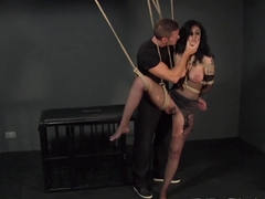 BDSM XXX Russian sub beauty is suspended by Master