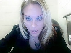 Dirty Whore Masturbating in the Men's Room