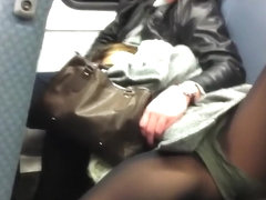 Whore wearing nylons shows off her crotch in the tube