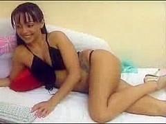 Hot brunette with small tits masturbates, no dildo