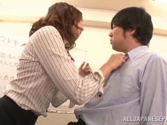 Miku Hasegawa Hot Asian milf in office suit and fishnets
