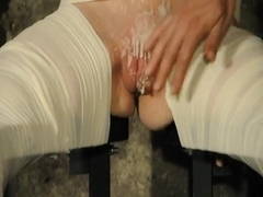 Brunette babe gets tied up helpless and tortured