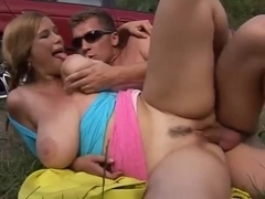 Big titted bitches fuck hard outdoors