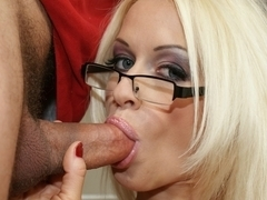 Sexy blonde Stacy Silver sucking a pepper hard