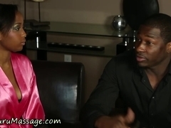 Ebony masseuse drenched
