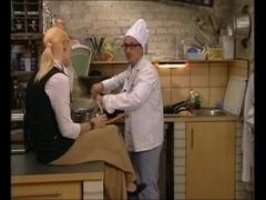Sexy Italian Blonde Drilled in Kitchen