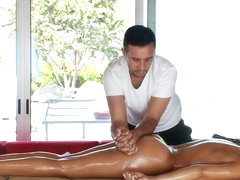 Rachel Starr gets massaging aid from Keiran Lee