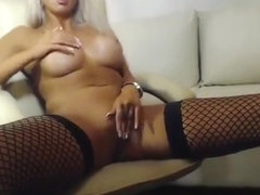 Gorgeous blonde LadyLuscious rubs her pussy