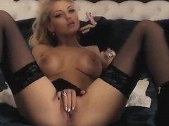 Lovely blond DiamondRoseX smokes and masturbates