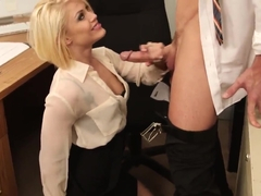 Crazy hot blonde babe demonstrates her secrets way to please new boss