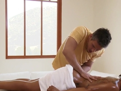 Gorgeous Ebony babe with tattooed back came to Mick Blue for a massage