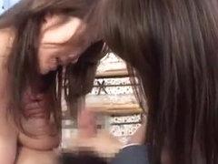 Japanese AV Models in kinky masturbation gangbang