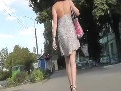 Brunette chick ass and crotch upskirt
