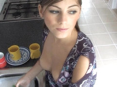 Big tits of a beautiful gal exposed in down blouse video